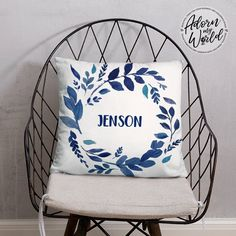 Personalized Name Pillow, Custom Name Cushion, Blue Leaves, Nursery Throw Pillow, Baby Boy Gift, Baby Shower Gift, Personalized Baby Gift