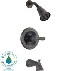 Delta Lahara 1-Handle 1-Spray Tub and Shower Trim in Venetian Bronze featuring H2Okinetic (Valve not included)-T14438-RBH2O at The Home Depot