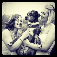 Our day wouldnt be complete with out our furry friend! Lesbian wedding