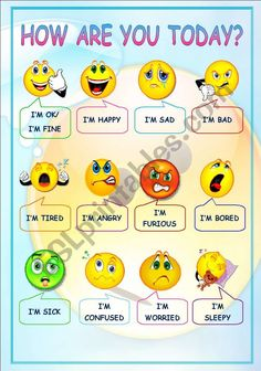 Flashcards with basic emotions. Can be used as a poster in the classroom English Activities For Kids, English Grammar For Kids, English Phonics, Learning English For Kids, Teaching English Grammar, English Worksheets For Kids, English Lessons For Kids, Kids English, English Vocabulary Words