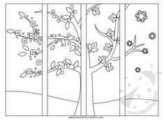 Drawing to paint Art For Kids, Crafts For Kids, Arts And Crafts, Teaching Activities, Teaching Art, Four Seasons Art, Quiet Book Templates, Montessori Materials, School Decorations