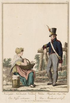 A Veteran and a Coffee Seller - This may be 19th Century (based on soldier's uniform).