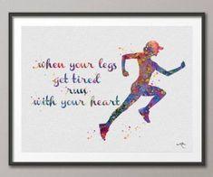 Runner Woman Watercolor Art Print Running Quote Art Wall Art Poster Wall Decor Art Marathon Home Decor Sport Wall Hanging [NO Running Art, Running Posters, Running Gifts, Running Quotes, Female Runner, Art Quotes, Quote Art, Sports Wall, Watercolor Print
