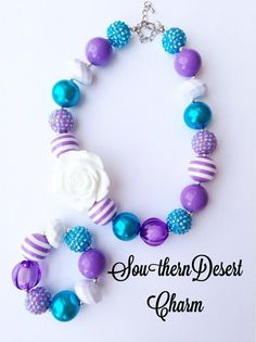 Toddler or Girls Purple Rain Sparkly Chunky Bubblegum Necklace on Etsy, $20.00