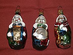 3 Vintage Glass Christmas Ornaments Clowns Playing Musical Instruments