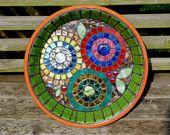Flower Garden Stained Glass Mosaic Bird Bath
