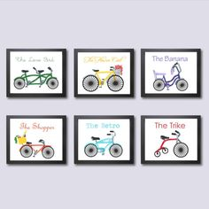 Bicycle Children's Decor, Kids Wall Art, Bicycle Nursery Art Prints, 11x14, Bike Decor, Art for Kids, Bicycle for Two, Whimsical Nursery Ar