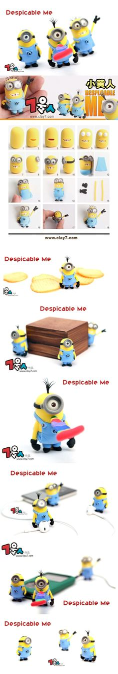 Tuto fimo : everyone needs minions Crea Fimo, Fimo Clay, Polymer Clay Projects, Polymer Clay Charms, Polymer Clay Creations, Polymer Clay Art, Clay Crafts, Cute Clay, Clay Figurine