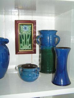 Arts & Crafts CH Brannam pottery display