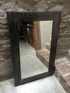 Grote metalen loodkleur spiegel horizontaal of verticaal stoer industrieel landelijk