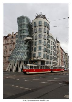 Dancing building in Prague    #architecture #tram #prague