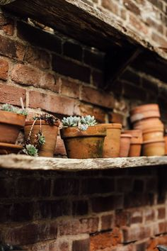 Old garden pottery | Plant pots | Terracotta | Vintage shelf display | Small | Birck wall