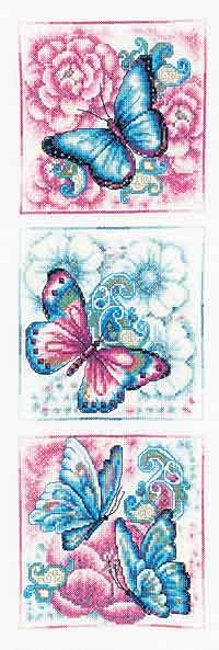 Blue Butterflies Cross Stitch Kit By Vervaco