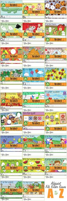 Alphabet File Folder Games- great site. They sell the printables for the file folder games, but I could probably just make them.  Great ideas, though and not just for the ABC's.