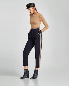 Zara Navy Gold Stripe Athleisure Trousers Blue Size L UK 12 14 Tapered Straight Office Fashion Women, Womens Fashion For Work, Going Out Trousers, Ordinary Girls, Gold Stripes, Navy Gold, Casual Fall Outfits, Fashion Over 50, Shopping