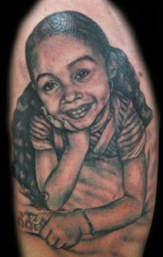 Black and Gray Portrait of a Girl  #portrait #tattoo #tattooartist #bodyart