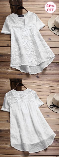 Vintage White Floral Embroidery Patchwork Irregular Blouses. Gracila brand from NEWCHIC. #white #tops