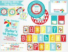 Items similar to Blue Red Yellow Beach Ball Birthday Party Printable Package YOU Print on Etsy Beach Ball Birthday, Ball Birthday Parties, Dog Birthday, Digital Invitations, Printable Invitations, Party Printables, Invitation Ideas, Thank You Party, Boy Party Favors