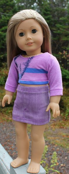 18 inch doll clothes purple graphic print by magoogesmusedesigns