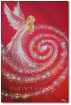 "Limited angel art photo, ""cosmic guardian angel"" modern angel painting, artwork, acrylics, Engelbild"