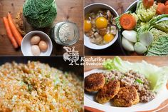 Kuchařka ze Svatojánu: KAPUSTOVÉ KARBANÁTKY S POHANKOU Czech Recipes, New Recipes, Tofu, Vegan Vegetarian, Grains, Rice, Cooking, Healthy, Czech Food