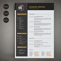 Resume Template B by sz81 on Creative Market… #resume #template #2017