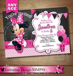 SAME DAY SVC Minnie Mouse Birthday Invitation Chalkboard Pink Polka Dot