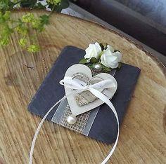 Ringkissen Ringhalter aus Schiefer mit Holzherz Herz creme für Eheringe Hochzeit