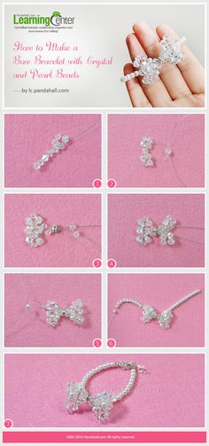 How to Make a Bow Bracelet with Crystal and Pearl Beads