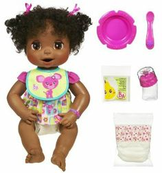 Baby Alive African American Doll by Hasbro. $84.99. Doll comes with 4 doll food packets and dress, bib, bowl, spoon, bottle and 2 diaper accessories. When she?s hungry, mix up her special doll food and use her spoon to feed it to her. Touch her bracelet during play time and your little girl will talk and sing with you. After a long and busy day, your itty bitty baby doll is all tuckered out?so she?ll fall ?asleep? right next to her Mommy. You can tell she needs her diaper c...
