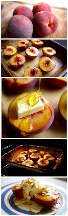Simple and easy dessert. How To Honey Roast Peaches Amazing. Super simple and delicious, great summer snack Fruit Recipes, Sweet Recipes, Dessert Recipes, Cooking Recipes, Healthy Recipes, Recipies, Grilling Recipes, Nutella Recipes, Healthy Deserts