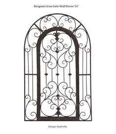 """Bergamo Iron Gate Wall Decor 51"""" arch top Tuscan style affordable wrought iron."""