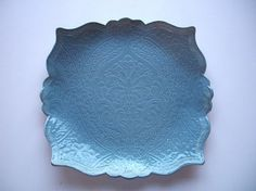 French Blue Square Brocade Serving Tray by CatsPawPottery on Etsy, $27.00