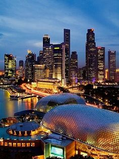 #Singapore city skyline at dusk, elevated view. (Photo by Jeremy Woodhouse)