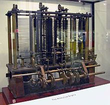 Trial model of a part of the Analytical Engine. The Analytical Engine was designed by English mathematician Charles Babbage. It was described in 1837 and is the first computer of the history.