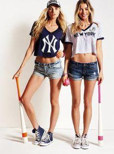 Victoria's Secret PINK New York Yankees - Bling Crop Tee, Glitter Crop Tee, and
