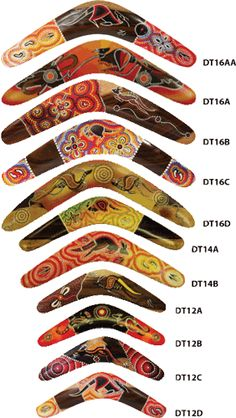 These boomerangs are made of Australian hardwood and hand painted with an aboriginal multi colour design. Designs vary on each piece, no two boomerangs are the same. $29.95 - $39.95