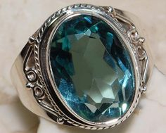 10CT Aquamarine 100% Pure 925 Solid Sterling Silver Ring Sz 8