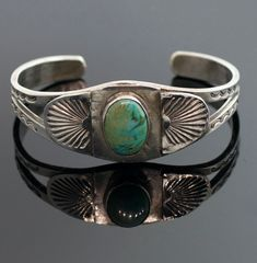 Vintage Navajo Sterling Silver & Turquoise Bracelet by SITFineJewelry on Etsy
