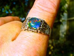Mens ring. Vivid Fire Opal ring. Sterling Silver Nugget design. Genuine Australian Black Opal. Large 8mm round Opal. Real Opal. Size 10
