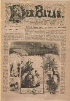 Front page, Der Bazar, January 1, 1858. University of Dusseldorf.