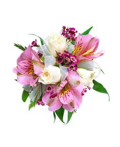 THREE WHITE ROSE & ALSTROEMERIA CORSAGE - Three White sweetheart roses, Three pink alstromeria and waxflower. Designed as a wrist corsage, but can be converted to a pin on corsage with included pins. Item #593.