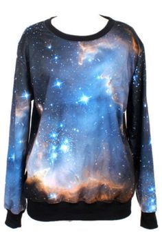 Galaxy Print Sweatshirt - OASAP.com-Christmas gift for sister