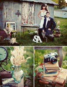 like the old books and camera idea