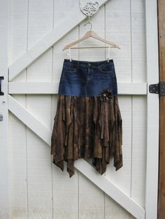 Boho cowgirl skirt, Tattered bohemian skirt, Brown Fairy skirt, denim cowgirl skirt, upcycled small xsmall Ready to ship. $42,90, via Etsy.
