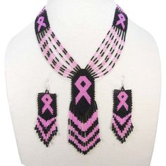Black Seed Beads Pink Ribbon Cancer Awareness Beaded Necklace Earrings Set Seed Bead Jewelry, Seed Beads, Beaded Jewelry, Breast Cancer Crafts, Craft Accessories, Wholesale Beads, Beads And Wire, Textiles, Black Seed