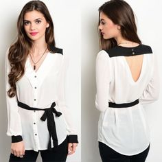 White & Black Long Sleeve Button Down Blouse New with tags. White with black trim lightweight long sleeve woven top featuring a button up front closure and self-tie waist sash. Perfect for work. Available in size S, M, and L.                          🌸100% polyester.                                                          🌺PRICE IS FIRM UNLESS BUNDLED.                           ❌SORRY, NO TRADES. Boutique Tops Button Down Shirts