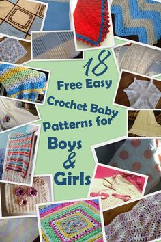 18 Free Easy Crochet Baby Blanket Patterns for Boys & Girls makes it easy to find the perfect present to make for yourself or a friend. If you're in the need of an easy, homemade baby shower gift, crochet baby afghans create a great opportunity to give a truly unique and personalized gift that will last a lifetime.