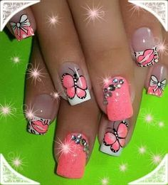 Bow Wallpaper, Toe Nails, Hair Beauty, Nail Art, Bows, Erika, Art Ideas, Butterfly, Designed Nails