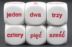 3/4 calowe kostki. Od 1 do 6 w języku polskim. 1 $ za każdego sześcianu. Learn Polish, Polish Words, Polish Language, Dice, Languages, Poland, Communication, Blood, Polish